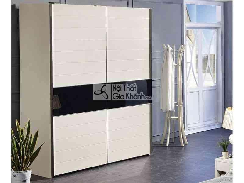 Tủ quần áo màu đen 2 cánh cửa lùa 1m8 2 buồng gỗ tự nhiên 3318D - 3318D