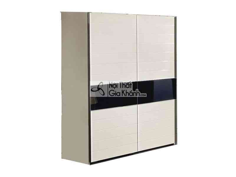 Tủ quần áo cửa lùa hiện đại chỉ đen 2m 2 cánh 2 buồng gỗ tự nhiên 3320D - 3320D
