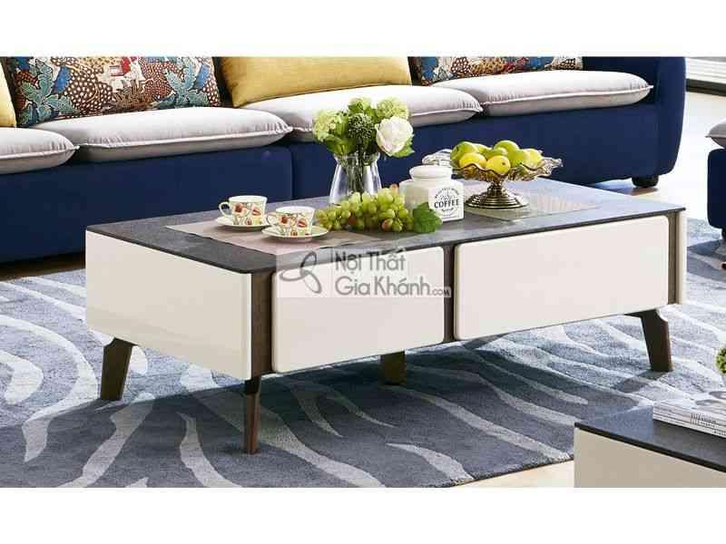 Bàn trà (Bàn Sofa) hiện đại phòng khách gỗ sồi mặt kính 3325BT - 3325BT1.3