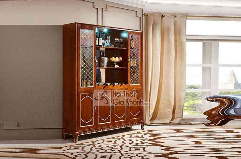 Tủ rượu gỗ Đỏ 4 cánh cho phòng khách sang trọng 59921T4