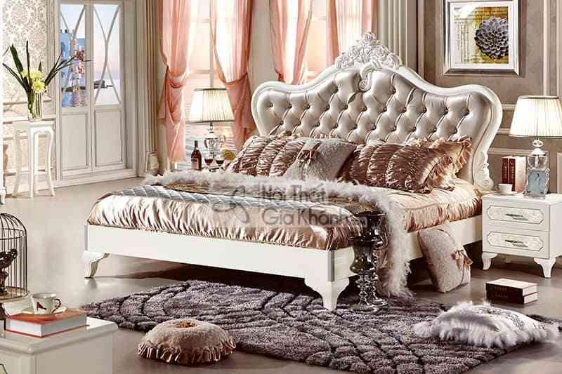 Giường ngủ tân cổ điển 1m8 bọc da phong cách Pháp 63662A