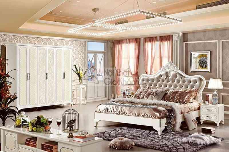 63662BG bo phong ngu - Giường ngủ tân cổ điển 1m8 bọc da phong cách Pháp 63662A