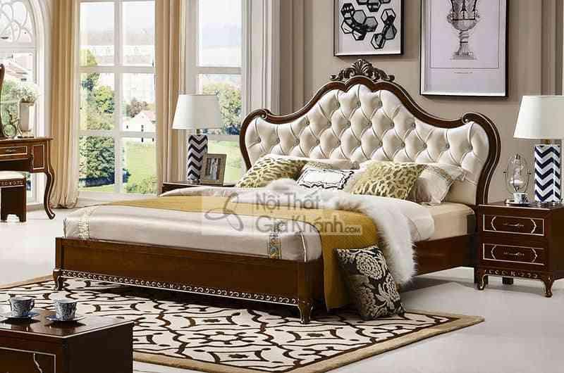 Giường ngủ 1m8 tân cổ điển bọc da cao cấp 69983A