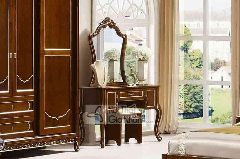 Bộ gường ngủ gỗ Đỏ nhập khẩu cao cấp 59982BG - 69983C Ban phan