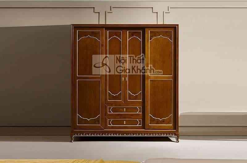 Tủ áo 2 cánh mở và 2 cánh lùa gỗ Đỏ cao cấp 69983D - 69983D tu ao 4 canh 2 canh mo 2 canh keo
