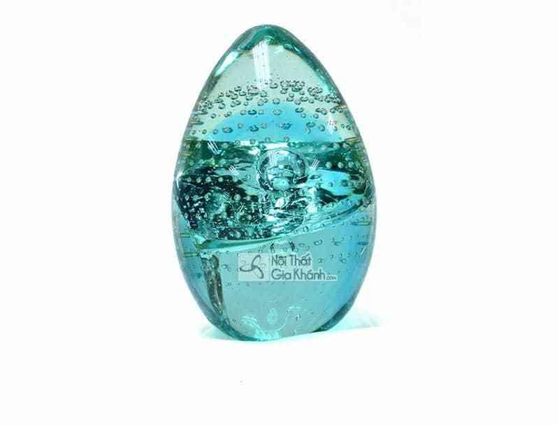 Trứng thủy tinh trang trí lạ mắt màu xanh ngọc 76166ASST - 76166ASST