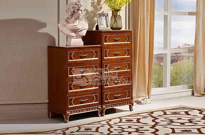 Bộ tủ ngăn kéo tân cổ điển gỗ Đỏ cao cấp 89909BK