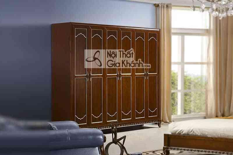 Bộ phòng ngủ tân cổ điển gỗ Đỏ màu nâu cao cấp 29980BG - 89985D tu ao 6 canh