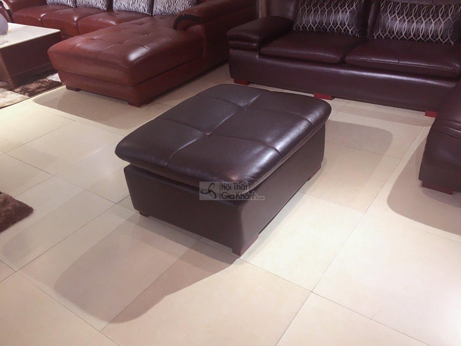 Đôn sofa da bóng màu nâu café cho phòng khách 9029DSF sang trọng - 9029DSF 3