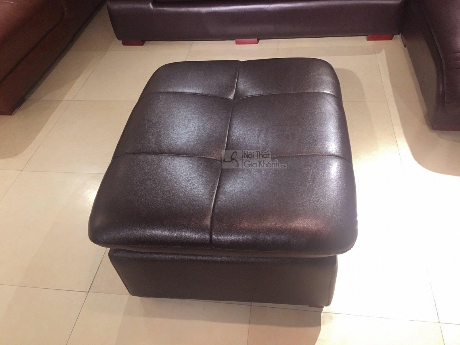 Đôn sofa da bóng màu nâu café cho phòng khách 9029DSF sang trọng - 9029DSF