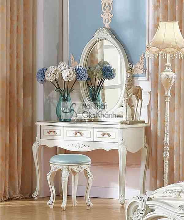 Bộ bàn ghế trang điểm gỗ công nghiệp phong cách Pháp mã BH1105C