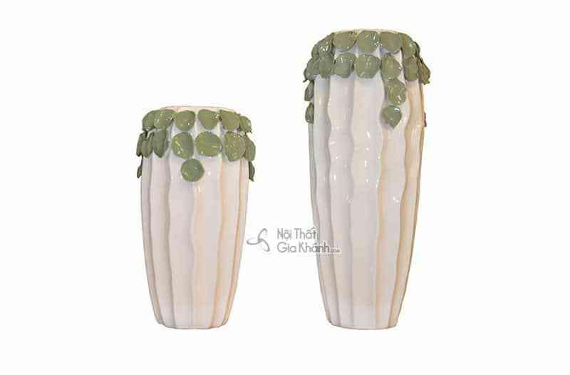 Bộ đôi bình hoa trang trí họa tiết lá độc đáo D150 - D150 1
