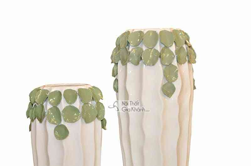 D150 2 - Bộ đôi bình hoa trang trí họa tiết lá độc đáo D150