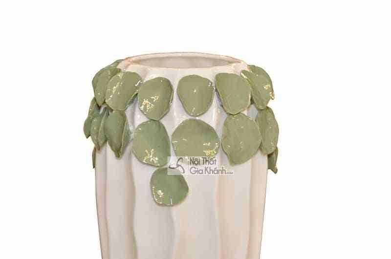 D150 3 - Bộ đôi bình hoa trang trí họa tiết lá độc đáo D150