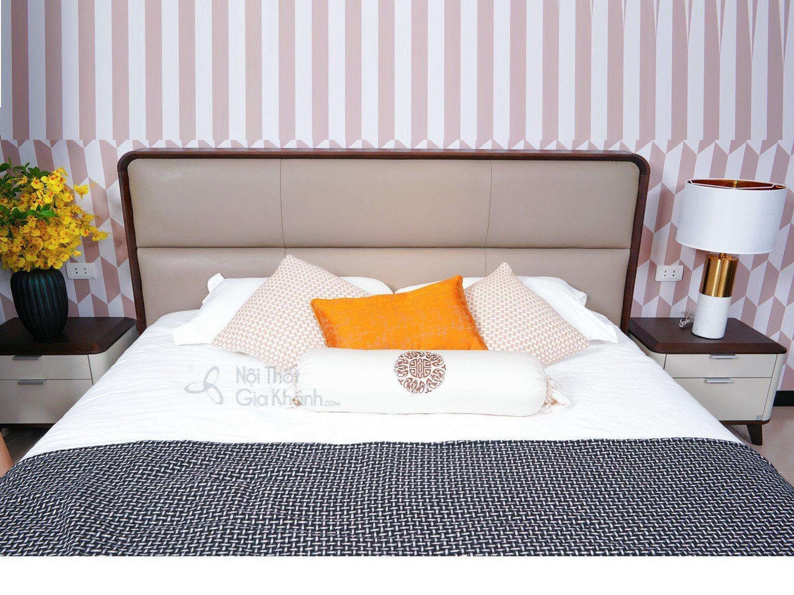 Mẫu Giường Ngủ Chung Cư Đẹp Gỗ Tự Nhiên Bọc Da Nhập Khẩu 1809AL - GIUONG NGU HIEN DAI 1809AL 2050x2260x1165 3 1