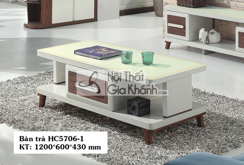 Bàn trà (Sofa) gỗ phòng khách 1m2 mặt kính có ngăn kéo HC5706-1