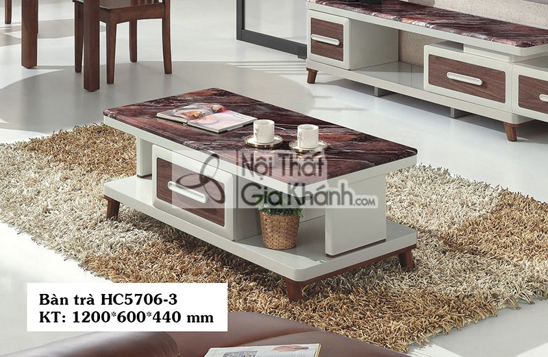 Bàn trà (Bàn sofa) phòng khách gỗ mặt đá 1m2 nhập khẩu HC5706-3 - HC5706HC5706 3
