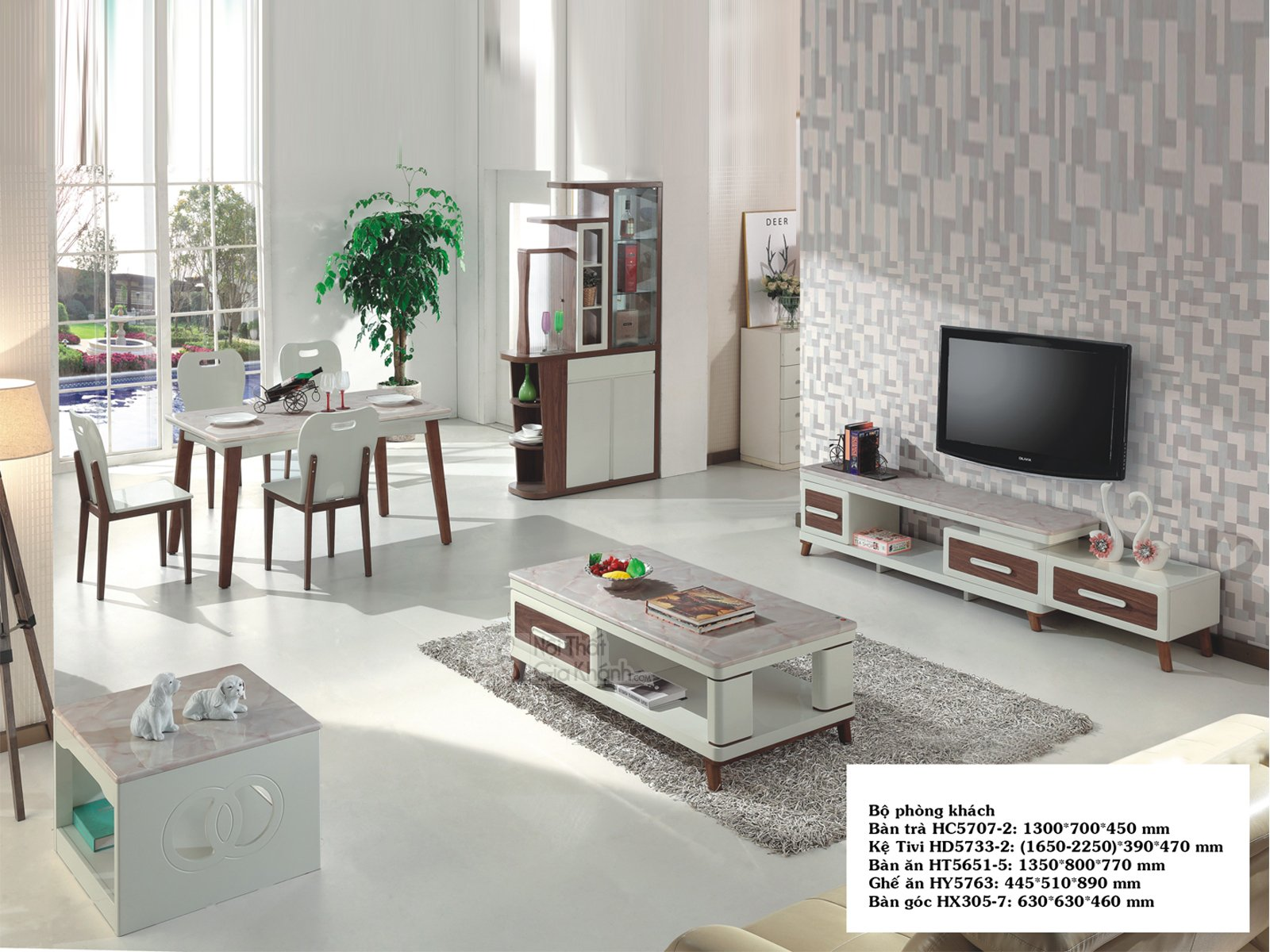 Bàn trà (Bàn Sofa) gỗ mặt đá 1m3 hiện đại cao cấp HC5707-2 - HC5707HC5707 2 HD5733HD5733 2 HT5651HT5651 5 HX305HX305 7 HY5763 HJ5770