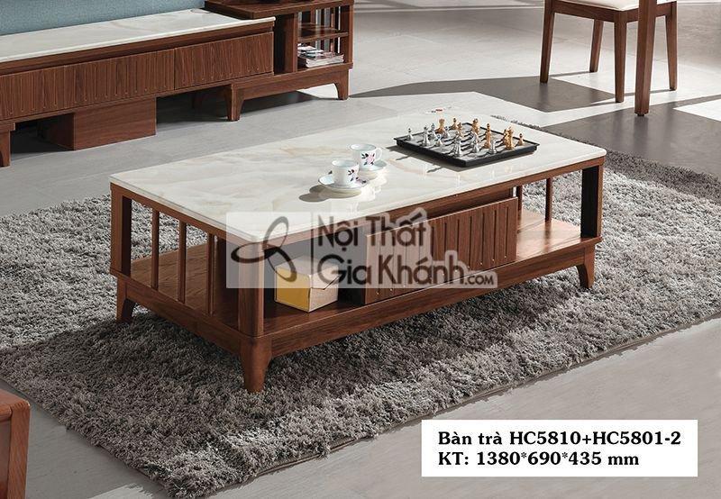Bàn trà (Bàn Sofa) hiện đại 1m38 mặt đá gỗ HC5810+HC5801-2 - HC5810HC5801 2 2