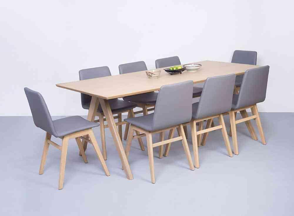 Bộ bàn ăn đa năng 6 ghế kết hợp ghế da HT5753-2BBA - bộ bàn ghế hiện đại đơn giản