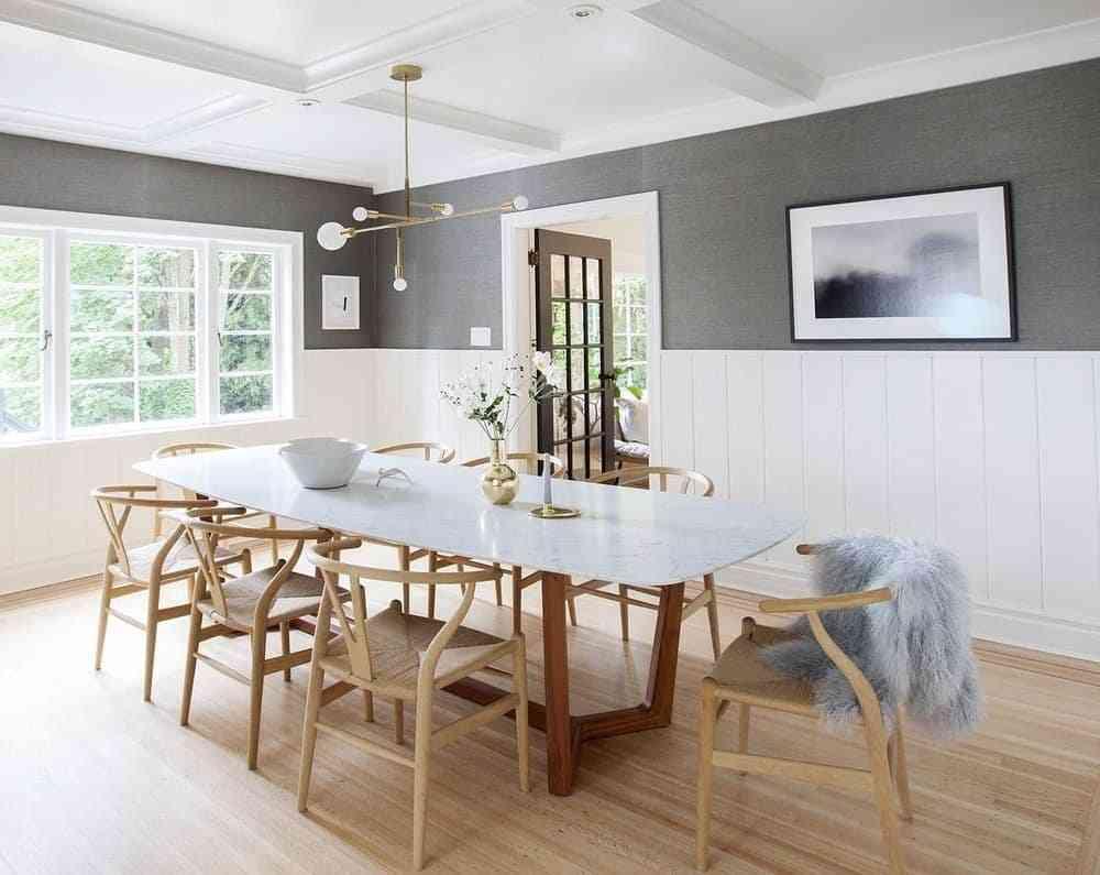 Bộ bàn ăn đa năng 6 ghế kết hợp ghế da HT5753-2BBA - bộ bàn ghế hiện đại bằng gỗ