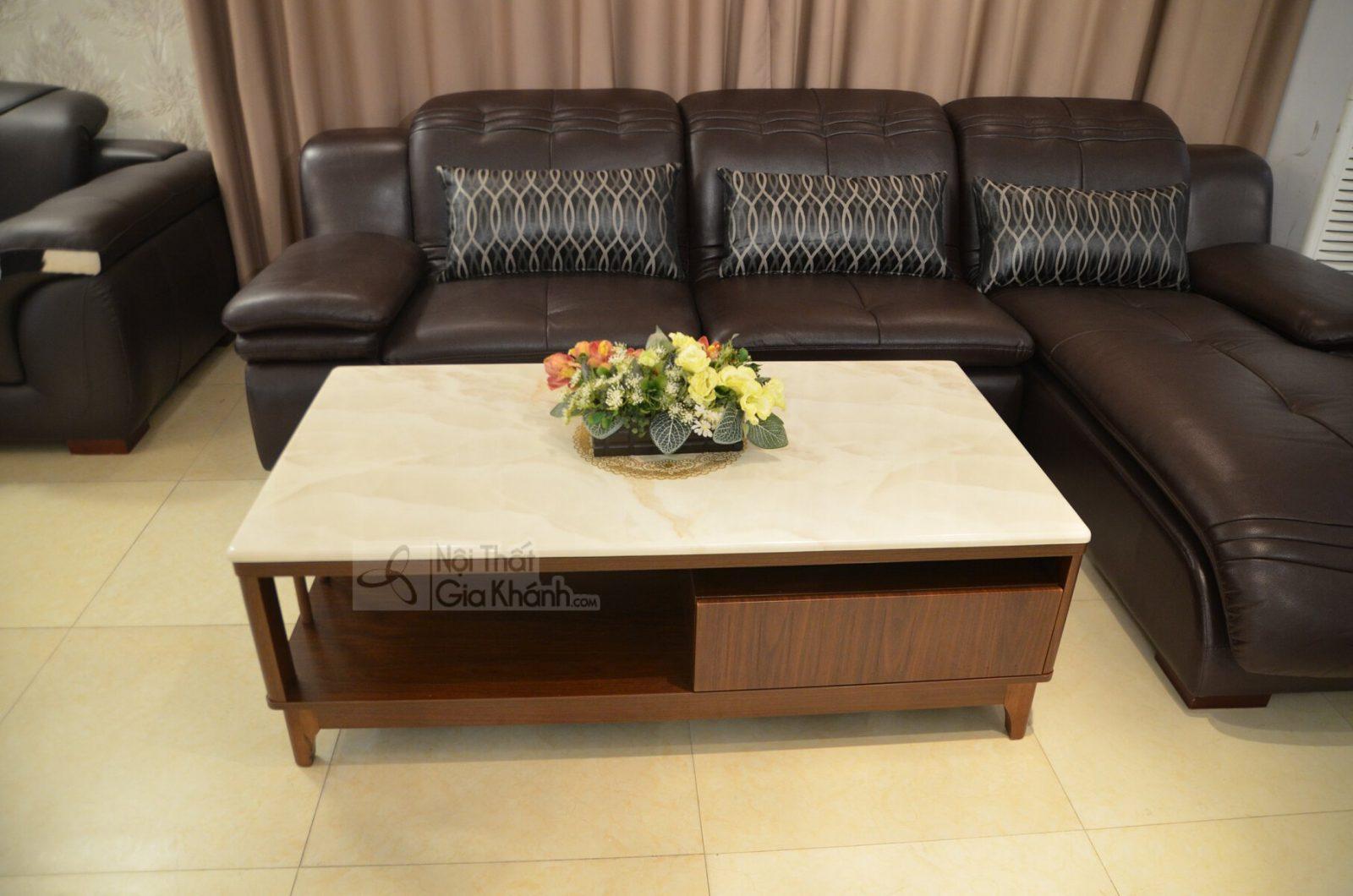 Bàn trà (Bàn Sofa) gỗ mặt đá hiện đại màu trắng HC5809+HC5800-2
