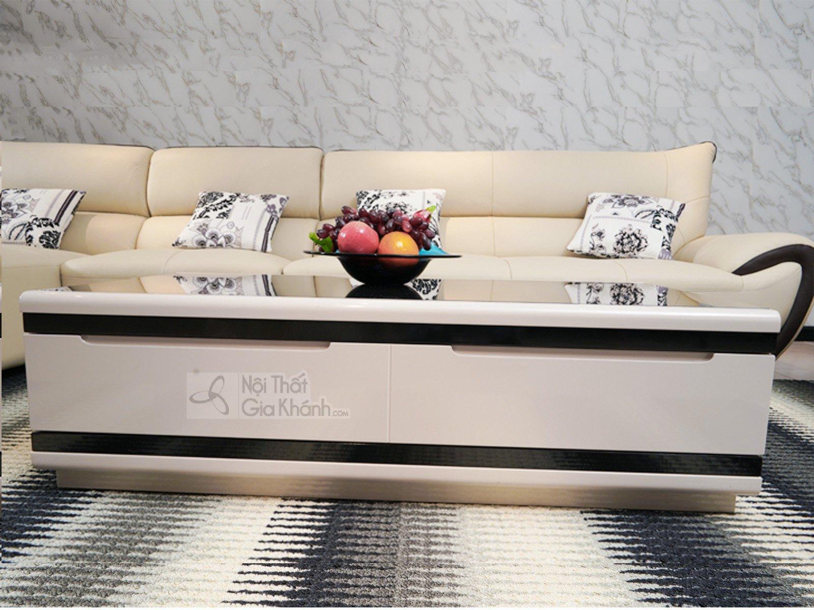 Bàn trà (Bàn sofa) gỗ phòng khách hiện đại mặt kính nhập khẩu 3311BT - ban tra hien dai 3311BT 1245x680x360 1