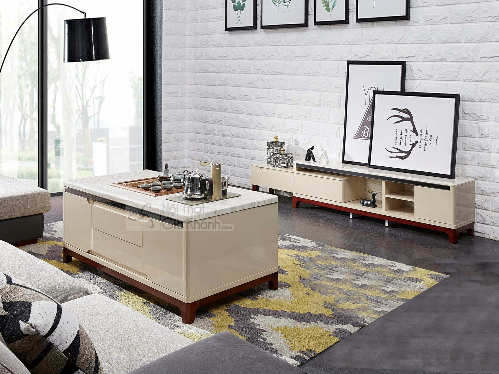 Kệ Tivi phòng khách hiện đại đơn giản gỗ công nghiệp mặt đá KT601-1D