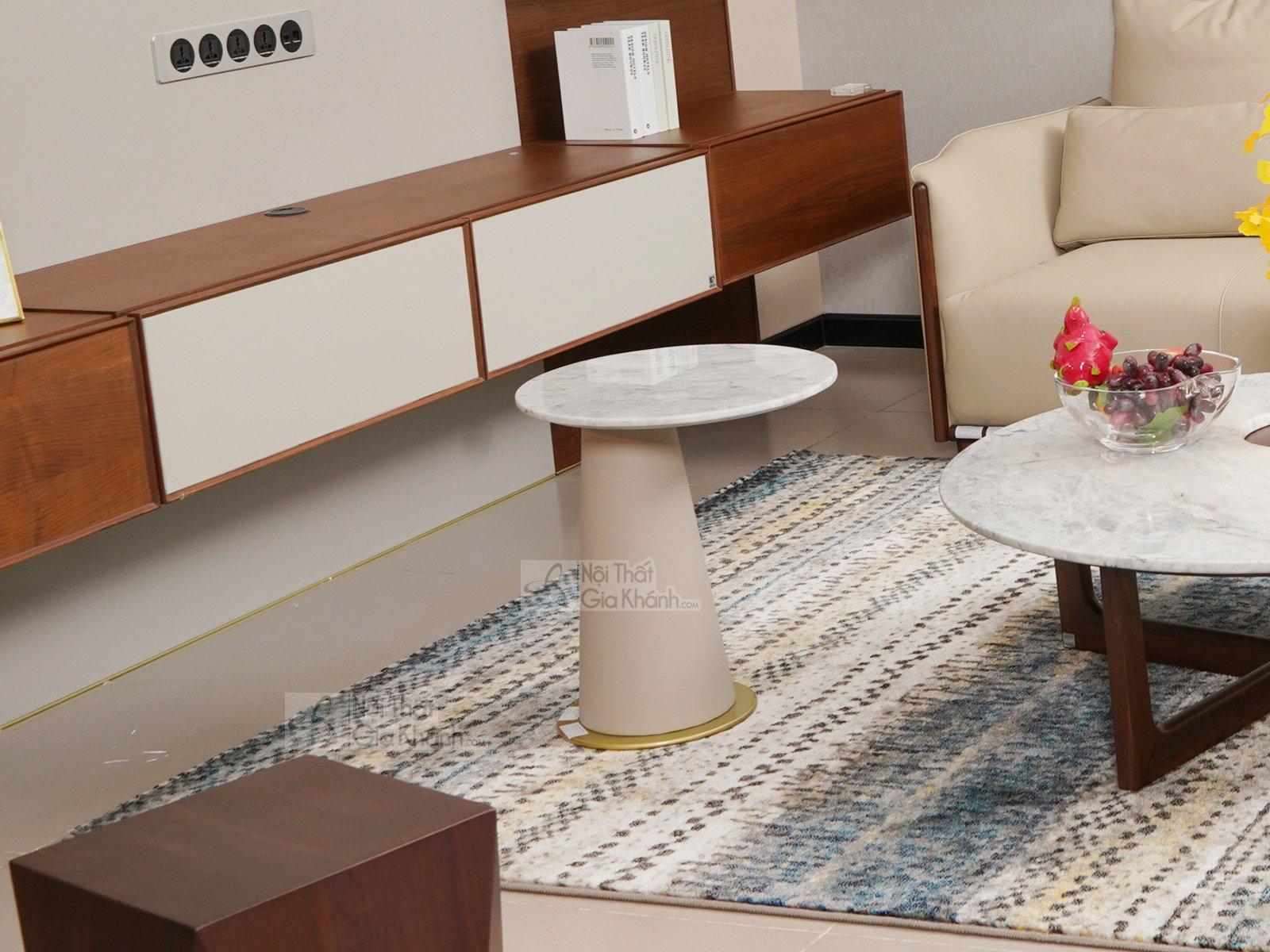 ban tra tron mặt đá 1911BT1 450x500 - Bàn trà (Bàn Sofa) gỗ hiện đại mặt đá cho phòng khách BT1911-1D