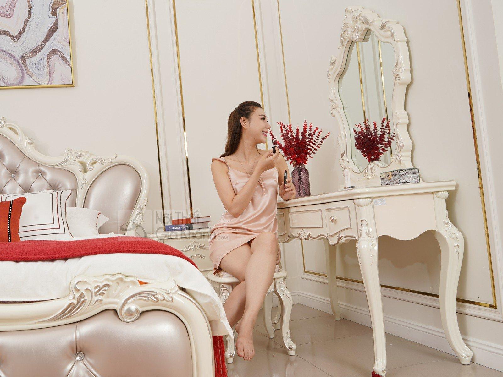 Bàn trang điểm cô dâu màu trắng gỗ Sồi tự nhiên H8801C - ban trang diem H8801C 4