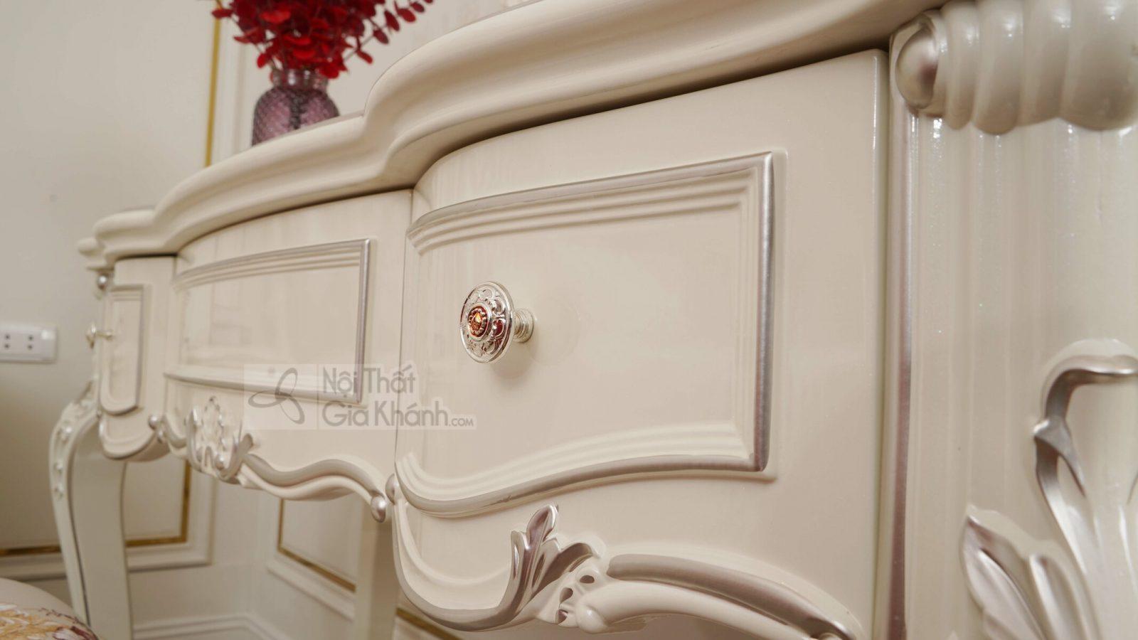 Bàn trang điểm cô dâu màu trắng gỗ Sồi tự nhiên H8801C - ban trang diem H8801C