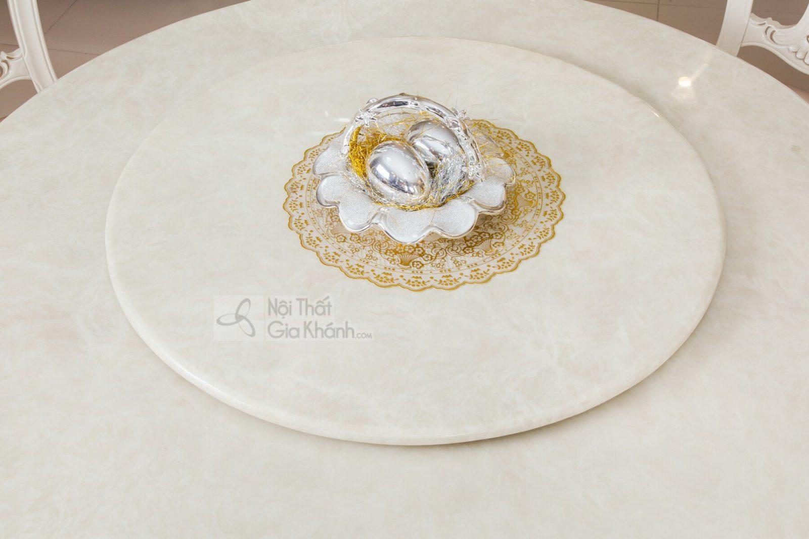 Bàn ăn tròn màu trắng gỗ sồi mặt đá Hồng Ngọc Long H8802BAT1.3-2 - bo ban an tron H8802BBAT 3