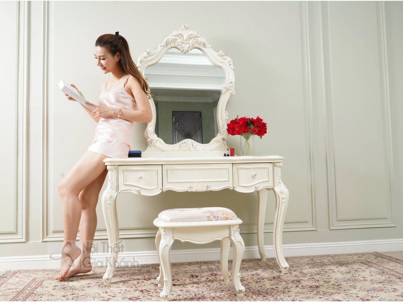 Bàn trang điểm cô dâu màu trắng gỗ BD8801H