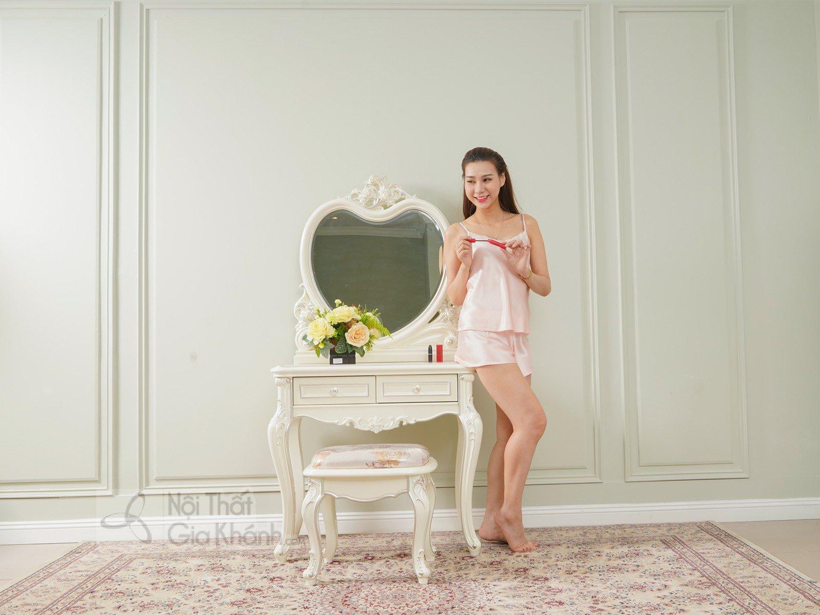 Bàn trang điểm cô dâu gỗ Sồi tự nhiên phong cách Pháp H8803C - bo ban trang diem H8803C 850x480x1630 12