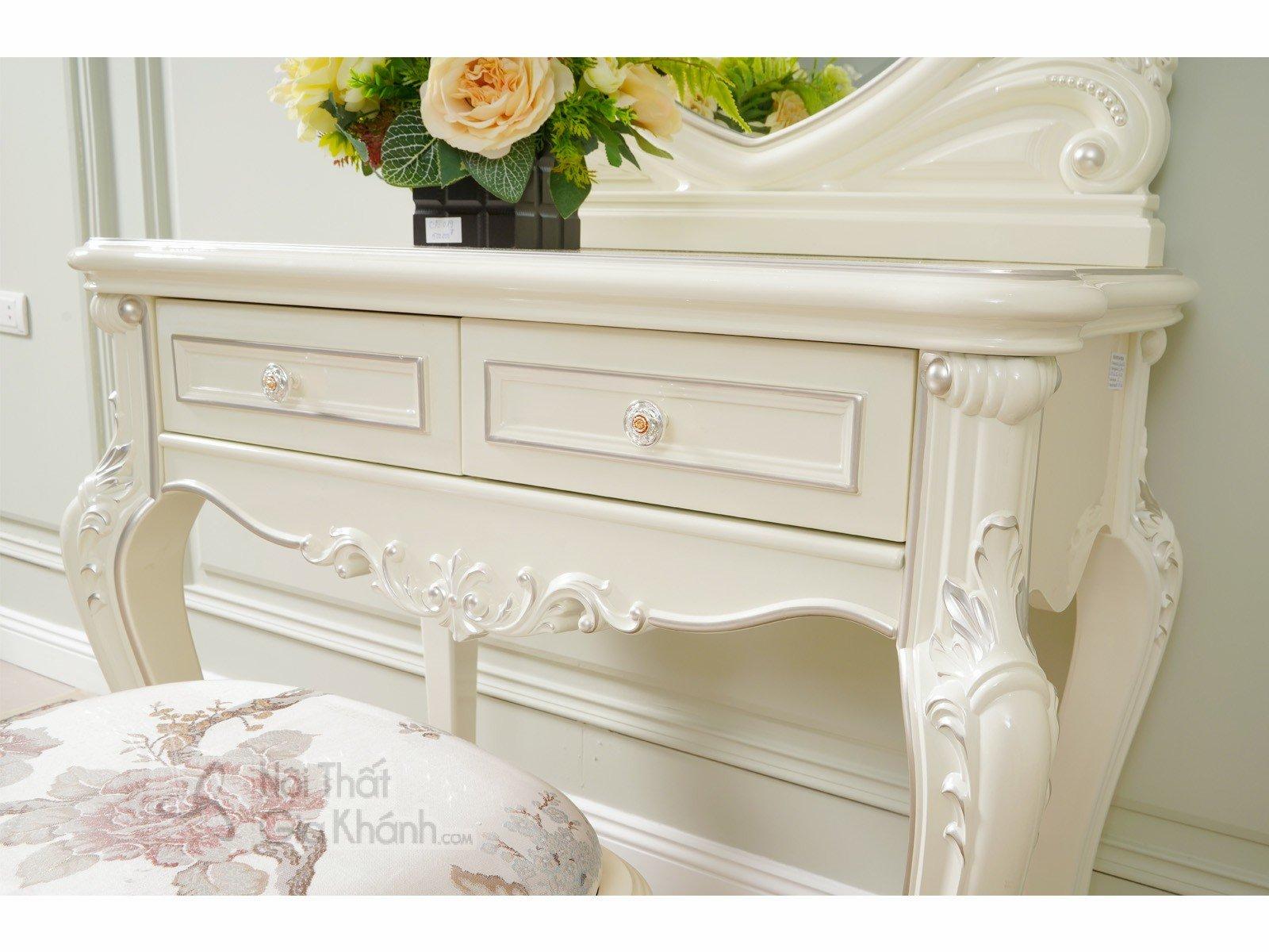 Bàn trang điểm cô dâu gỗ Sồi tự nhiên phong cách Pháp H8803C - bo ban trang diem H8803C 850x480x1630 5