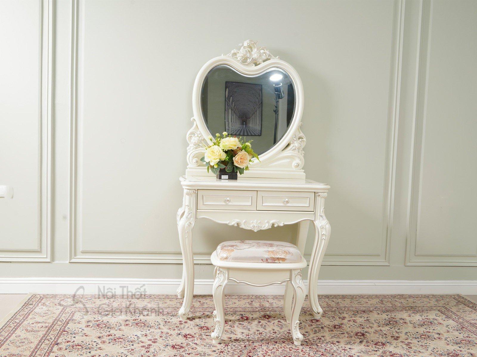 Bàn trang điểm cô dâu gỗ Sồi tự nhiên phong cách Pháp H8803C - bo ban trang diem H8803C 850x480x1630 7