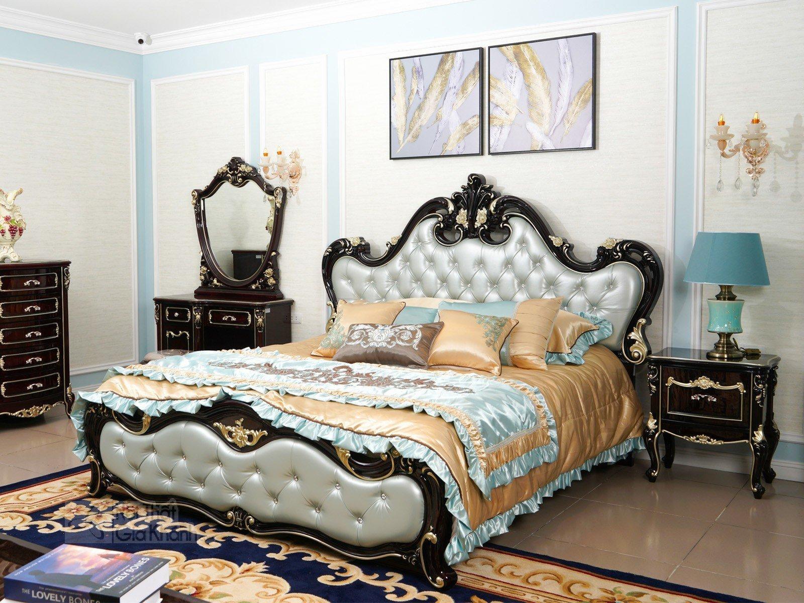 bo phong ngu tan co dien gom giuong ngu va ban phan bn8801g - Tủ đầu giường gỗ tân cổ điển TA8801G