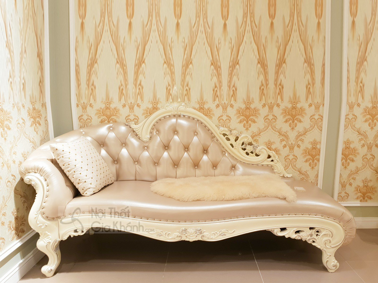 Ghế quý phi - Sofa phòng ngủ da phối nỉ cao cấp H8801TK - ghe trang ky H8801TK 2100x800x1030 4