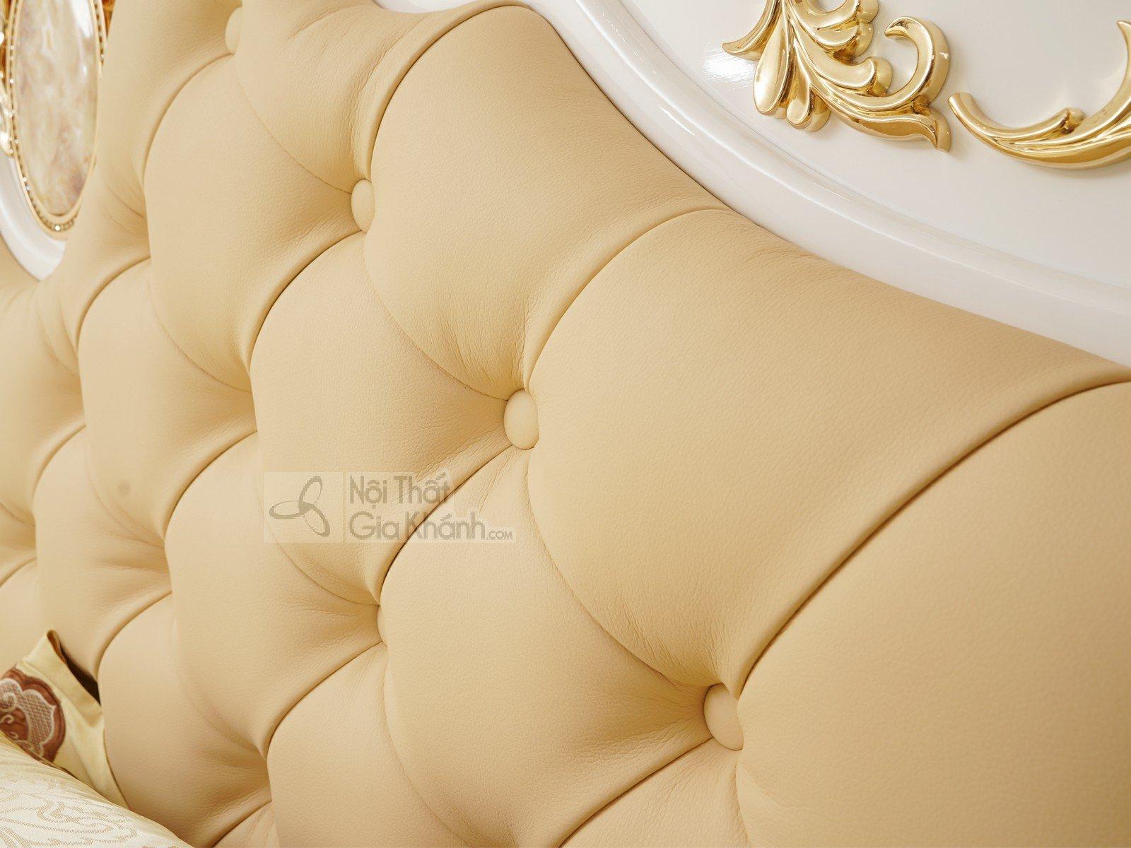 Giường ngủ 1m8 gỗ tân cổ điển trắng cao cấp GI3028-18