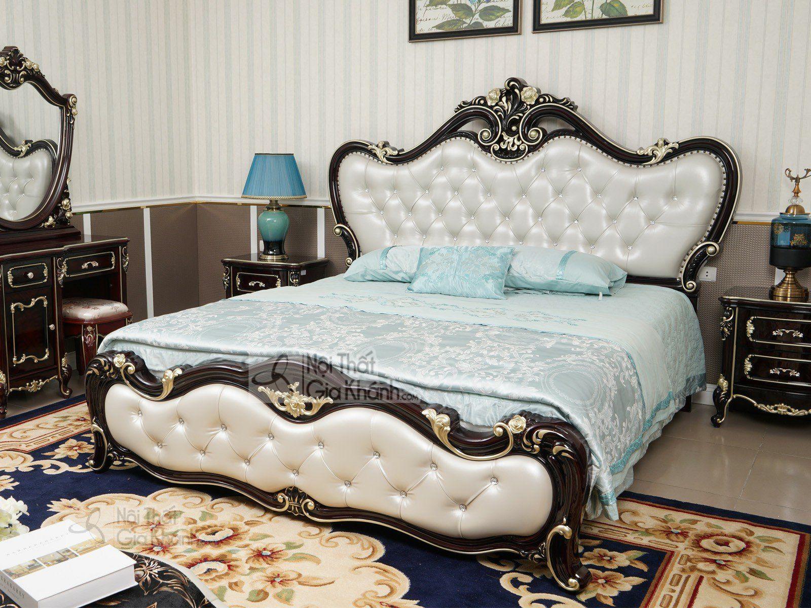 Giường ngủ màu nâu tân cổ điển gỗ sồi tự nhiên cao cấp G8802AL - giuong ngu tan co dien G8802AL 2240x2200x1635 2
