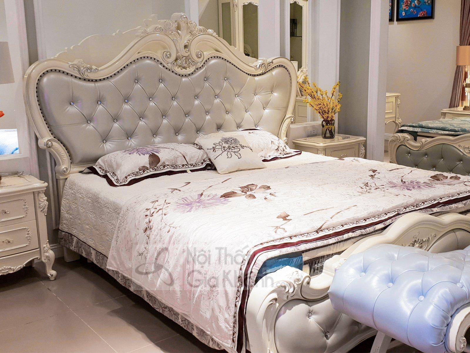 Giường ngủ (1m8x2m) màu trắng French White H8802AL - giuong ngu tan co dien H8802AL