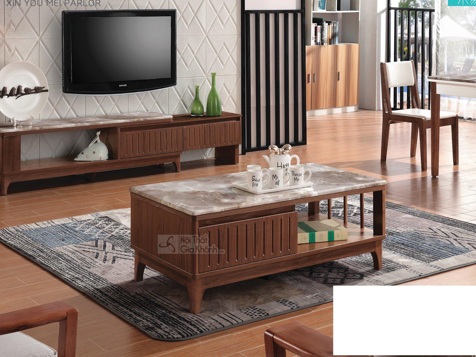 Bàn trà (Bàn Sofa) phòng khách hiện đại gỗ mặt đá nhập khẩu HC5808-3