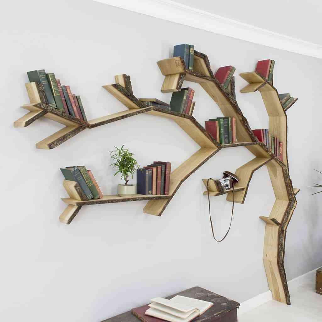 Kệ treo tường đẹp cho không gian hiện đại - kệ hình cây cho góc học tập 2