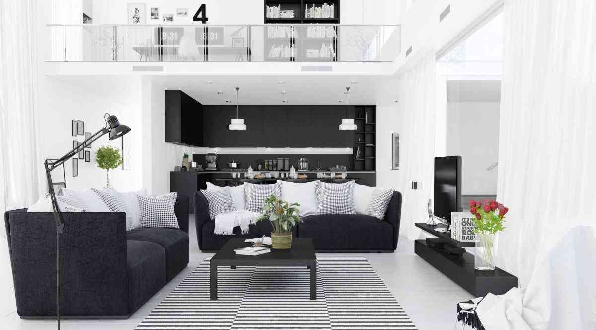 10 mẫu thiết kế phòng khách hiện đại với Sofa màu trắng đen