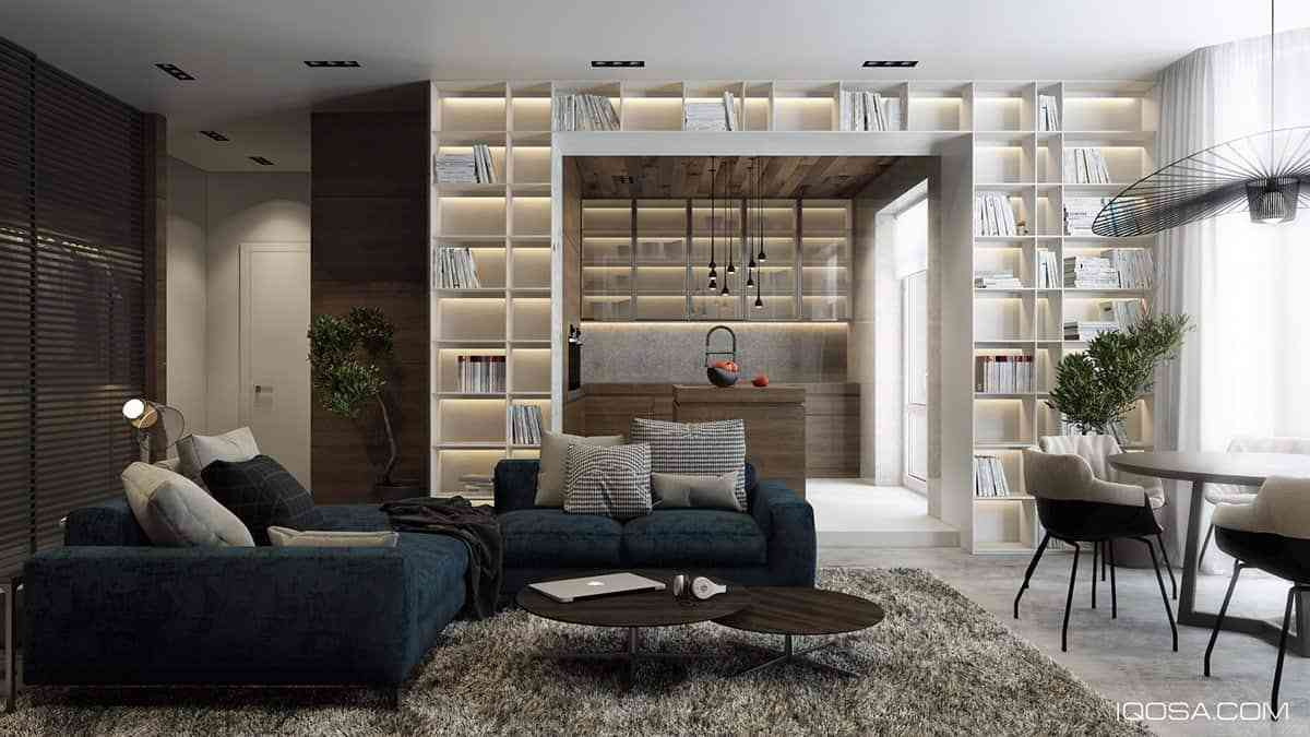 Tủ sách cho phòng khách sang trọng - showroom noi that nhap khau Book wall