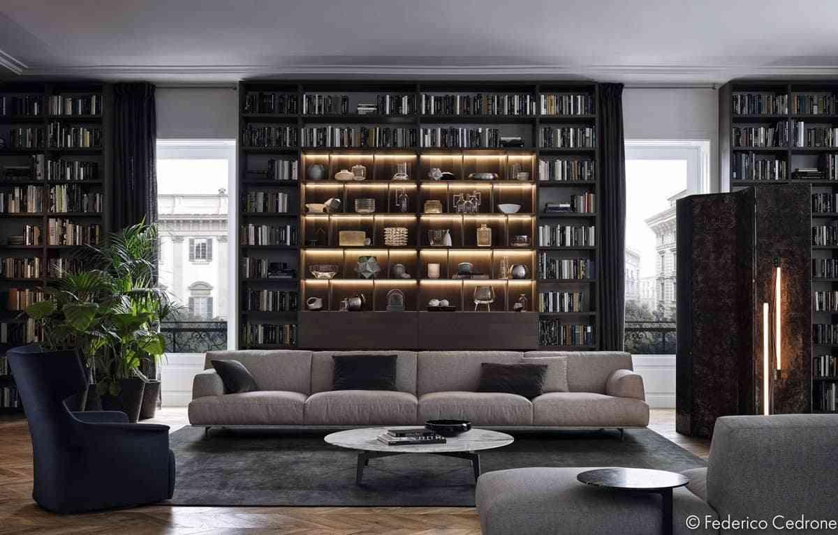 Tủ sách cho phòng khách sang trọng - showroom noi that nhap khau Bookcase lighting