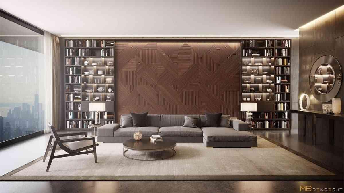 Tủ sách cho phòng khách sang trọng - showroom noi that nhap khau Bookcases Panelled Wall