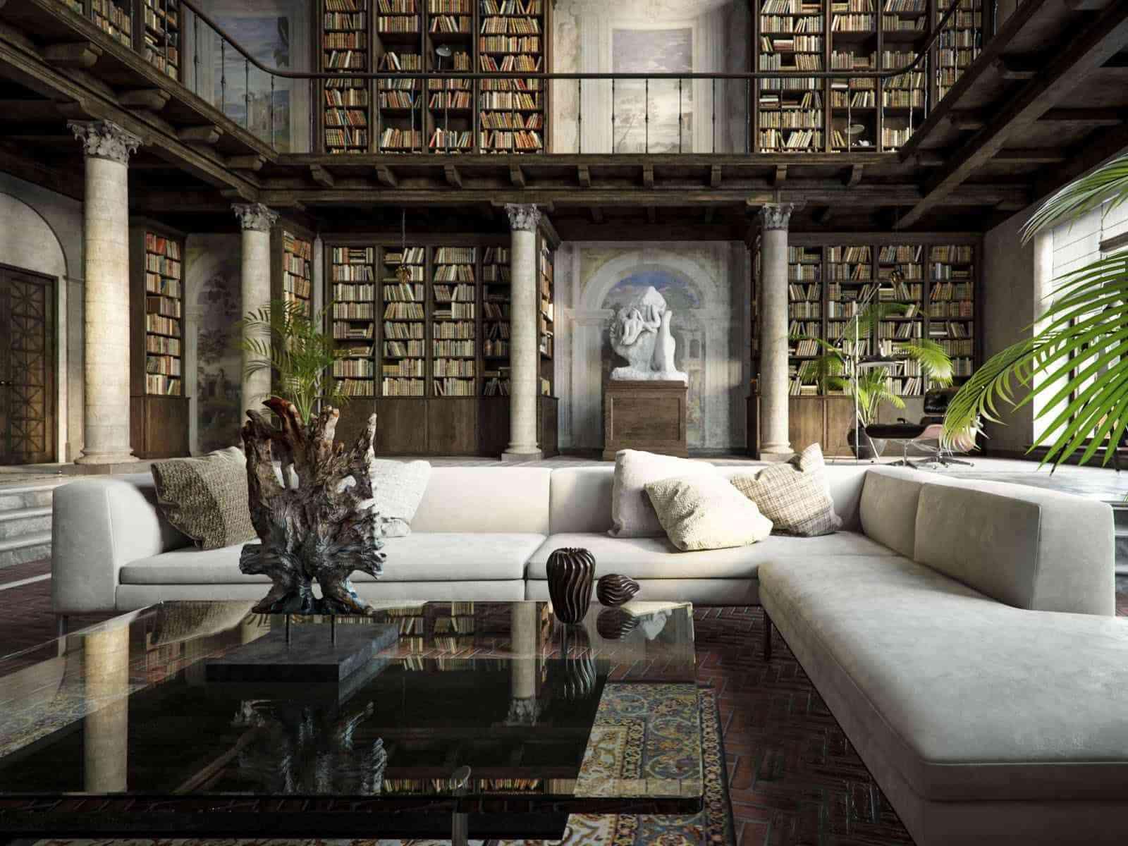 Tủ sách cho phòng khách sang trọng - showroom noi that nhap khau Large home library