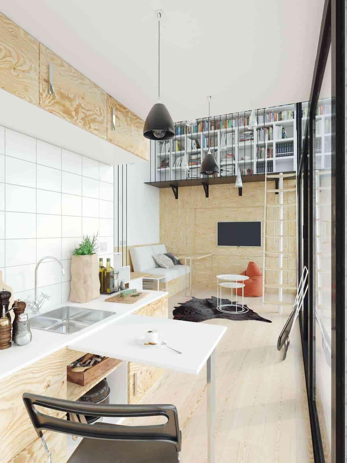 Tủ sách cho phòng khách sang trọng - showroom noi that nhap khau Mezzanine bookcase