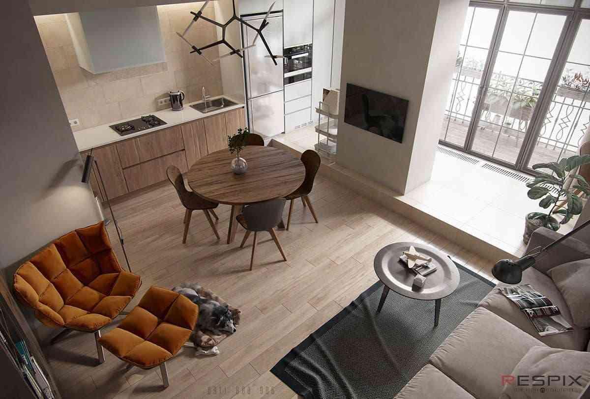 15 xu hướng thiết kế phòng khách với không gian nhỏ - showroom noi that nhap khau Mid Century Modern Rust Orange Accent Chair For Modern Home